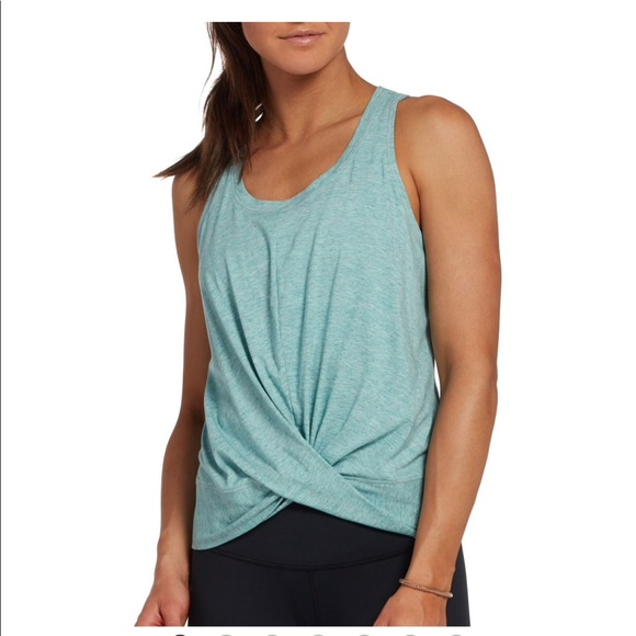 NEW CALIA Women/'s Flow Strappy Front Neck Striped Tank Top NWT